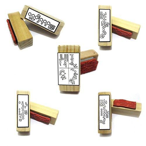Instrumentos de viento - sello de goma profesores regalo unidades. (5 útil sellos para diagramas. Incluye almohadilla de sello negro. Para la flauta, el clarinet, el saxofón, el oboe y el fagot.)