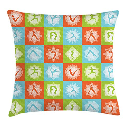 Yoga Throw Pillow Cushion Cover, Mind and Body Theme Different Yoga Poses with Lotus Flower Motifs Colorful, Decorative Square Accent Pillow Case, 18 X 18 inches, Orange Green Sky Blue - Orange Flower Body Cream