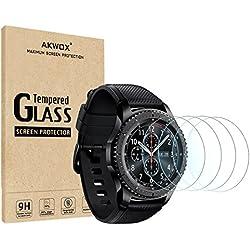 Akwox [Lot de 4 Protecteur en Verre Trempé Samsung Gear S3 Frontier et Classic, Film de Protection d'Écran Anti Rayures Film Protecteur pour Gear S3