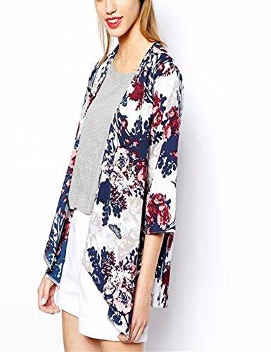 Monissy Damen Bademode Floral Cardigan Swimsuit Bikini Cover Up Chiffon Kimono Sommer Strandkleid Mit Blumen (Baby Karate Kostüm)