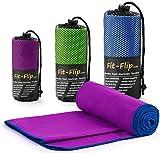 Lila mit dunkelblauen Rand, 1x 200x100cm | Handtuch mikrofaser Sport Handtuch mikrofaser Sauna Handtuch mikrofaser Fitness