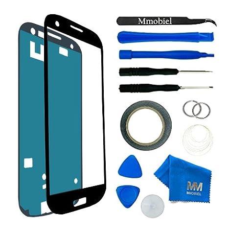 Kit de remplacement d'écran tactile pour Samsung Galaxy S3 MINI i8190 i8195 NOIR; inclus: Vitre de rechange; Pincette; Ruban adhésif 2mm; Chiffon microfibre; Kit d'outillage spécifique; fil métallique