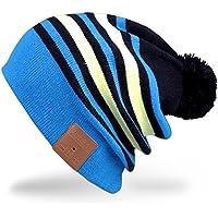 Rotibox unisex Bluetooth Slouchy righe Pom Pom Beanie della protezione del cappello con fili Cuffia auricolare altoparlante Mic mani libere per iPhone iPad Samsung Android cellulari, regali di Natale - Blu / Giallo