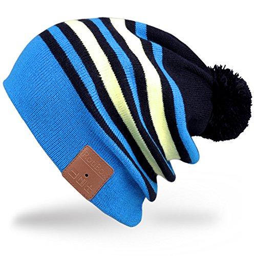 Rotibox Cappello con cuffia bluetooth integrata senza fili - Blu   Giallo dcf14a943a2c