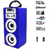 Altavoz Portátil con Bluetooth USB SD Batería luces LED Micrófono voz (AZUL)