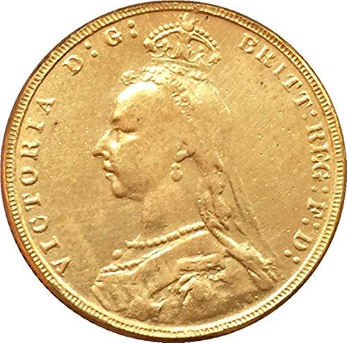 Bespoke Souvenirs RARE Antique European England UK 1891 One Crown Queen Victoria Coin Seltene Münze -