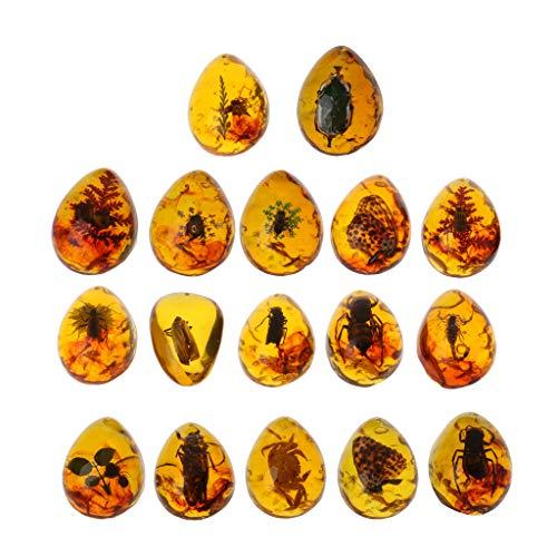 JunYe Tiere Bernstein Schmetterling Insekten Stein Anhänger Halskette Edelstein für DIY Schmuck