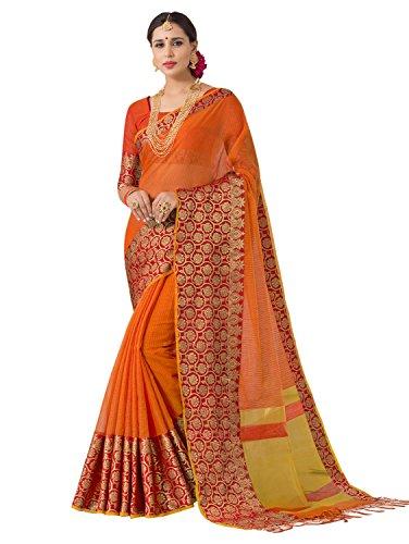 Pisara Women's Banarasi Silk Saree With Blouse Piece,Orange