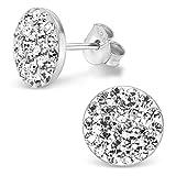 Silvinity Kristall Ohrstecker weiß rund flach 925 Sterling Silber Ohrringe Damen Stecker rhodiniert 10mm SV-184-W
