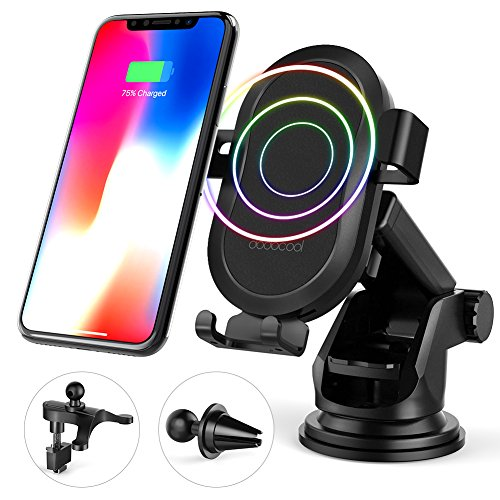 alterung 10W Wireless Auto Charger Qi Induktive Ladestation mit 2 Air Vent für Samsung Galaxy S9/S8/Note8 /S7 Edge, für iPhone X/8/8 Plus/XS/XS Max/XR und andere Qi Geräte ()