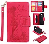 LG K8 Case Leather [Cash and 9 Card Slots], Cozy Hut Elegant Woman and cat Patterned Embossing PU Leather Stand Function Protective Cases Covers with Card Slot Holder Wallet Book Design Fordable Strap Case for LG K8 5.0 Inch - red