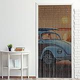 Power-Preise24 Bambus Türvorhang Nature 90 x 200 cm bunter Raumteiler mit 90 Strängen aus Bambus mit beidseitigem Naturmotiv Bambusvorhang zum Aufhängen, Motiv:Blauer Käfer