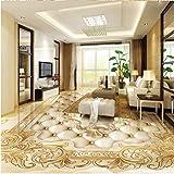 ACYKM Murale 3D Revêtement de sol 3d luxe européen or marbre marbre doux parquet Revêtement de sol 3d carrelage auto-adhésif PVC papier peint murale 250x200cm