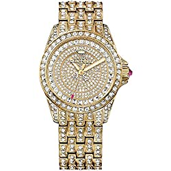 Juicy Couture Stella women's quartz Watch with gold Dial analogue Display and gold rose gold Bracelet 1901213