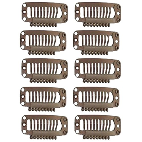 Imported 10Pcs Hair Extension Snap Clips Wig Grips Medium Remy Clip In 32mm Brown  available at amazon for Rs.150
