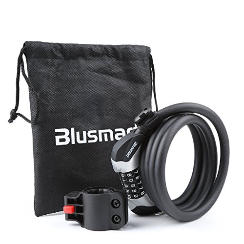 Heavy Duty Bike Lock – High Quality Chain Lock with 5-Digit Resettable Number   Combination Cable Lock For Bicycle, Scooter, Grills & Other Items That Need To Be Secured – Blusmart