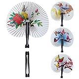 Amakando Elegante ventaglio Asiatico Fatto di Carta / Bianco con Motivo colorato / Ventaglio Cinese Pieghevole Come Accessorio per Costume & Decorazione / UnŽattrazione per Carnevale