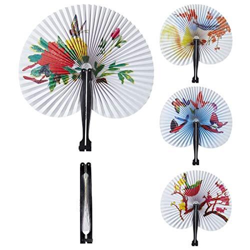 Amakando Eleganter asiatischer Papierfächer / Weiß-Bunt / Chinesischer Klappfächer als Kostüm-Zubehör & Dekoration / EIN Blickfang zu Fasching & Karneval