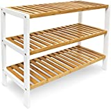 Bamboo Shoe Rack With 3 Shelf Boards Size: 70x54.5x24.5cm Brown-White