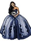 O.D.W A-Linie Lange Damen Appliques Spitzen Gotisch Brautkleider Mittelalterliches Vintage Hochzeitskleider(Schwarz+Navy Blau, 46)