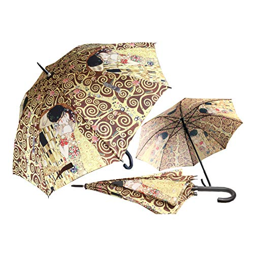 CARMANI - Regenschirm Stockschirm, manuelles Öffnen und Schließen bedruckt mit Gustav Klimt