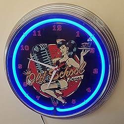 Neon reloj–Pinup Old School Diner–Iluminación Neon Azul–También Disponible en otros colores Neon.