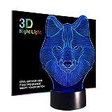 3D Nachtlicht für Kinder, Wolf Lampe Spielzeug für Jungen, Farben ändern Beleuchtung, Berühren USB-Ladung Tisch Schreibtisch Schlafzimmer Dekoration, Coole Geschenke Ideen für Geburtstag Weihnachten