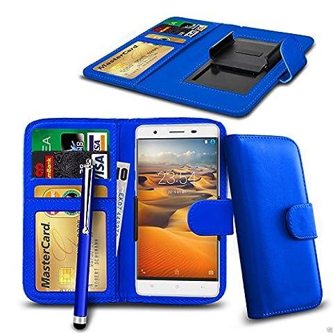N4U Online® - Clip On PU Leather Wallet Case Cover & Pen For BLU Studio C HD - Blue