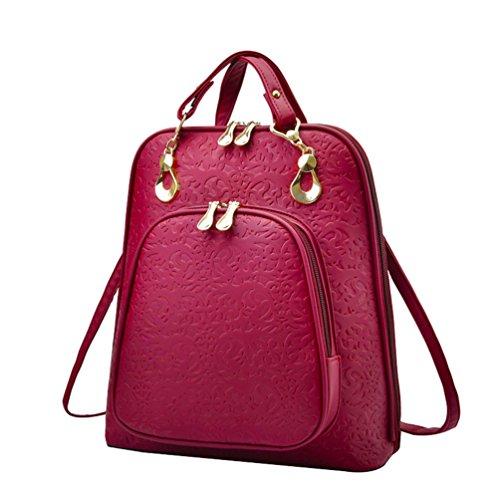 YAANCUN Donna Zainetto Da Fashion-Borsa A Tracolla Da In Pelle Sintetica PU,Zaino,Borsa Da Viaggio,Large Compacity Backpacks Vino rosso