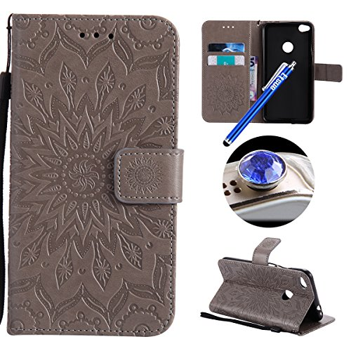 Huawei P8 Lite 2017 Leather Case,Huawei P8 Lite 2017 Wallet Case, Etsue Embossing Sunflower Pattern Retro Bookstyle Flip Case Cover with Strap Leather Wallet Case Stand Function Credit Card Slots Magnet Closure for Huawei P8 Lite 2017+Blue Stylus Pen+Bling Glitter Diamond Dust Plug(Colors Random)-sunflower,Gray