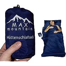 MAX mountain Saco de dormir para de microfibra, ligero, transpirable, ideal para hotel y las excursiones de senderismo, los viajes, las acampadas , azul oscuro, 220x90cm 300g