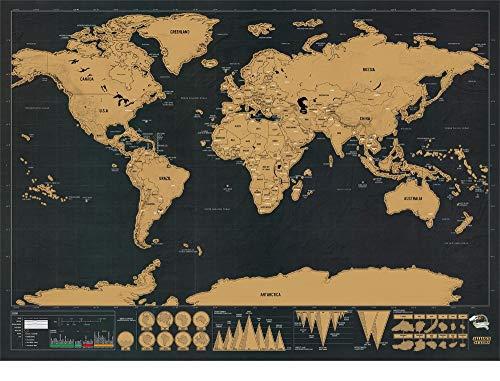 Atiehua Wandtattoos Scratchmap Deluxe Erase Weltkarte Scratch Off Weltkarte Personalisierte Reise Scratch Map Room Home Decoration Wandaufkleber