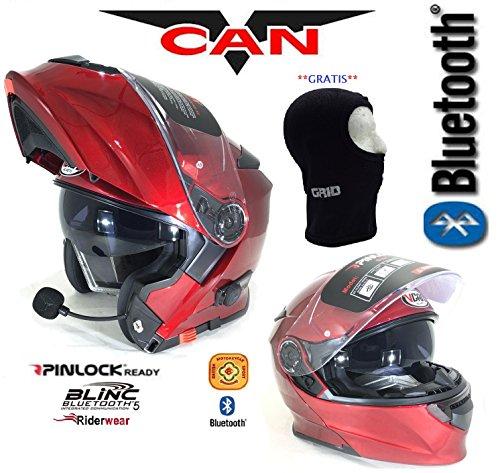 Casco moto bluetooth - vcan v271blinc bluetooth flip anteriore casco nuovo moto mp3sat nav fm interfono casco modulare bordeaux con passamontagna - rosso - m