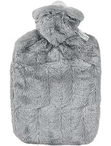 Hugo Frosch Wärmflasche Klassik 1,8 Ltr. mit Microfaserbezug in Tierfelloptik grau