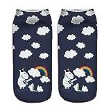 Jysport - Calcetines deportivos tobilleros para mujer, algodón, varios diseños de unicornio, Rainbow Clouds Unicorn