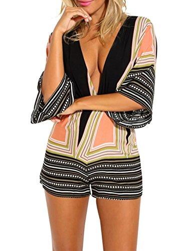 CRAVOG Sexy Damen Overall Sommer V-Ausschnitt Backless Jumpsuit