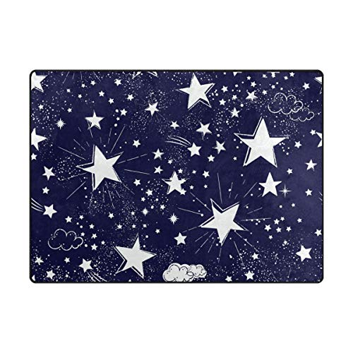 Area Rugs Galaxy Space White Stars Wolken Navy Indoor/Outdoor Fußmatte Wohnzimmer Schlafzimmer Sofa Teppich Anti-Rutsch Home Hotel Groß Custom Area Rug Mat 13,3 x 10,2 cm, Polyester, multi, 5.25'x4'