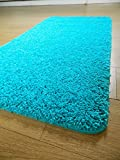 NEW BRIGHT COLOURFUL WASHABLE SHAGGY NON SLIP RUGS & MATS UK (40x60cm, Teal)