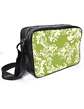 Snoogg Abstrakt Weiß Grün Muster Leder Unisex Messenger Bag für College Schule täglichen Gebrauch Tasche Material PU