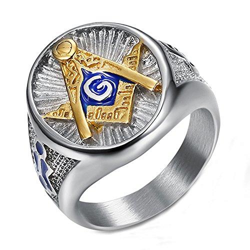 Männers Freimaurer Goldenes Blau AG Titan Stahl Ringe,Größe 59 (18.8)