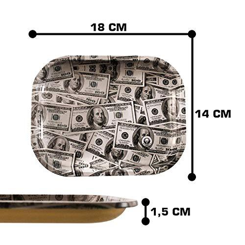 Heisenberg Metall Drehtablett/Rolling Tray in 4 Designs - 18cm x 14cm - Extra hoher Rand 1,5cm - Rolltablett Design Dollar