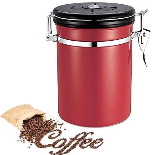 Kaffedose/Kaffeebehälter aus Edelstahl , Luftdichte aromadose mit Deckel ,Premium Qualität Vorratsdosen um Kaffeebohnen für die perfekte Aufbewahrung von Kaffee, Nüsse, Mehl , Tee -500g/1.8L(rot) (Speicher-behälter-set Mit Deckel)