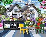 Papiers peints muraux ciel bleu au toit de chaume multicolores petit jardin chien...