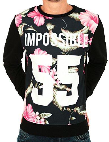 Celebry-Tees-Sudadera-negra-con-estampado-de-flores-rosas-y-texto-Impossible-55-negro-XS