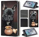 CoverFix Premium Hülle für Samsung Galaxy S8 Flip Cover Schutzhülle Kunstleder Flip Case Motiv (1451 Französische Bulldogge H& Schwarz Welpe)