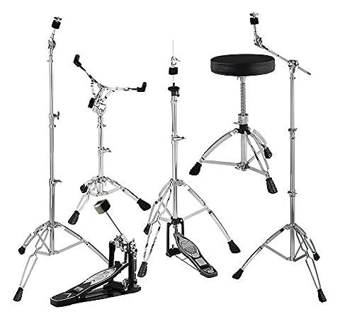 XDrum HP-1000S Hardware Pack (6-teilig, Beckenständer mit versenkbarem Galgen, gerader Beckenständer, Snare Drum-Ständer, Fußmaschine, HiHat-Maschine, (Cymbal Stand Pack)