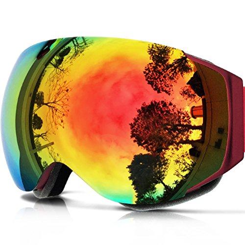 Zionor lagopus x6 sferico senza telaio snowmobile snowboard skate occhiali da sci con anti-uv di protezione antinebbia con obiettivo occhiali da sci (rosso)