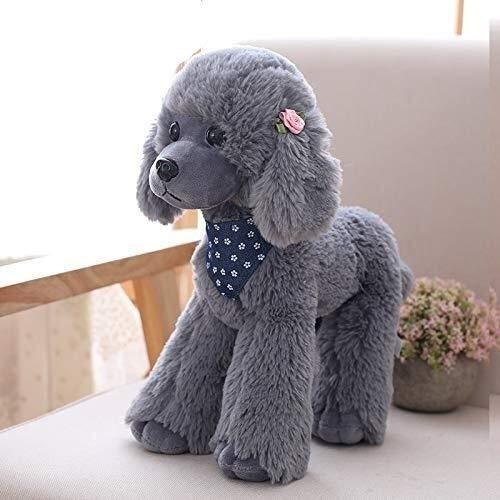 LIULAOHAN Decoración de muñecas de Felpa, Lindo Perro Artificial de Peluche para muñecas, (Color : Dark Gray, Size : 40cm)