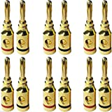12 Stück Bananenstecker / Adapter für Lautsprecherkabel für 5.1 Set, bis 6 Boxen von hinten oder seitliche Einführung, roter und schwarzer Ring 10 Jahre Garantie, Marken Ware von M&G Techno®
