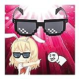 Omiky® Thug Life Brille 8 Bit Pixel Deal mit IT Sonnenbrille Unisex Sonnenbrille Spielzeug (Schwarz)